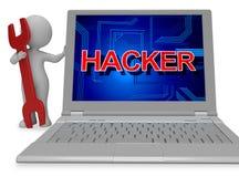 Hacker-Zeichen zeigt den nicht autorisierten Spyware und Wiedergabe des Cyber-3d Stockfotografie