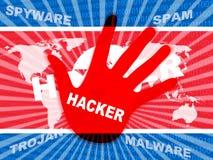 Hacker zeigt Illustration der Nordkorea-Cyber-Verbrechen-3d stock abbildung