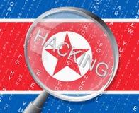 Hacker zeigt Illustration des Nordkorea-Cyber-Verbrechen-3d lizenzfreie abbildung