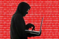 Hackera pojęcie na tle binarny kod ilustracji