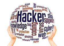 Hackera słowa chmury sfery pojęcie zdjęcia stock