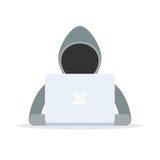 hackerbärbar dator royaltyfri illustrationer