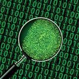 Hackerbinär code und -fingerabdruck Lizenzfreie Stockbilder