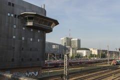 Hackerbruecke station platform with the Munich bus station, 2015 Stock Photo