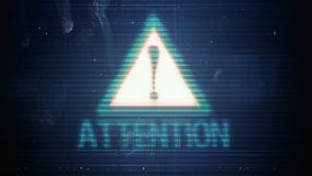 Hackerelement und -pixel lärmen Störschub mit der Aufschrift Aufmerksamkeit stock abbildung