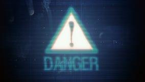 Hackerelement und -pixel lärmen Störschub mit der Aufschrift Gefahr vektor abbildung