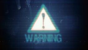 Hackerelement und -pixel lärmen Störschub mit der Aufschrift Warnung vektor abbildung