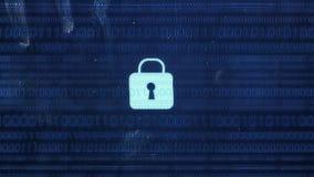 Hackerelement und -pixel lärmen Störschub mit einem Sicherheitsschloss stock abbildung