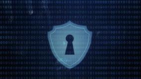 Hackerelement und -pixel lärmen Störschub mit einem Sicherheitsschloss lizenzfreie abbildung