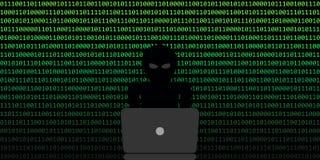 Hackerinternetkriminalitätskonzeptbinär code-Netzhintergrund lizenzfreie abbildung