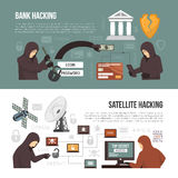 Hackers Activity Methods 2 Flat Banners. Internet hackers activity 2 flat infographic elements banners with bank account breaking via satellite connection vector illustration