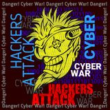 Hackers Attack - cyber war, sign on digital binary Royalty Free Stock Photo