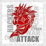Hackers Attack - cyber war, sign on digital binary Royalty Free Stock Images