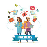 Hackers Criminals Cartoon Composition Poster. Cyber criminal hackers at work stealing passwords information and bank account access retro cartoon poster vector royalty free illustration