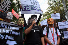 Hackers freedom law protest in Manila, Philippines. The Philippine Internet Freedom Alliance (PIFA) and other groups including Bayan Muna, Piston, and Gabriela Stock Photos