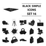 Hackers and hacking set icons in black style. Big collection of hackers and hacking vector symbol stock illustration. Hackers and hacking set icons in black stock illustration