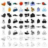 Hackers and hacking set icons in cartoon style. Big collection of hackers and hacking vector symbol stock illustration. Hackers and hacking set icons in cartoon vector illustration