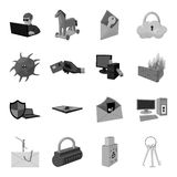 Hackers and hacking set icons in monochrome style. Big collection of hackers and hacking vector symbol stock. Hackers and hacking set icons in monochrome design stock illustration