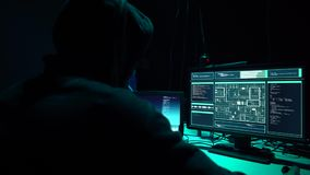 Hackers making cryptocurrency fraud using virus software and computer interface. Blockchain cyberattack, ddos and stock footage