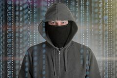 Hackers programmer look on screen and writes the program code hack information stock illustration