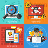 Hackers Square Compositions Set Royalty Free Stock Images