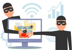 Hackers steal information. Hacker stealing money and personal information. Hacker unlock information, steal and crime computer dat. A. Vector illustration royalty free illustration