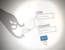 Hackers steal passwords picture concept of security,   websit Stock Image
