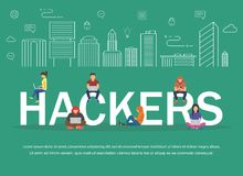 Hackers using laptops for stealing login password, money, email, private messages and credit cards using virus. Flat desing illustration Royalty Free Stock Photography
