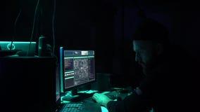 Hackery robi cryptocurrency oszustwu używać wirusowego oprogramowania i komputeru interfejs Blockchain cyberattack, ddos i zdjęcie wideo
