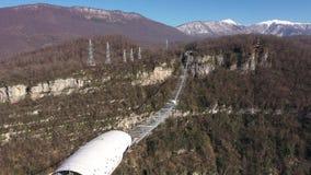 Hackett национальный парк Сочи Skypark aj, Сочи, горы, Mzymta River Valley вид с воздуха Замороженный лес акции видеоматериалы