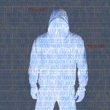 Hackey en silhouette et codes binaires images libres de droits