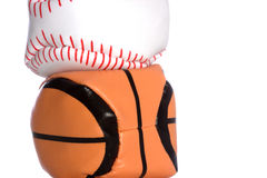 Hackey sac baseball and basketaball stacked Royalty Free Stock Image