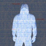 Hackey in Silhouette and Binary Codes Royalty Free Stock Images