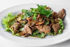 Hackfleisch mit Gemüse- und würzigem, Lebensmittel von Thailand Lizenzfreies Stockfoto