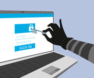 Hacking account of social networking. Royalty Free Stock Image