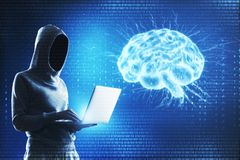 Hacking and ai concept. Side view of hacker using laptop with glowing brain hologram. Hacking and ai concept. 3D Rendering royalty free illustration