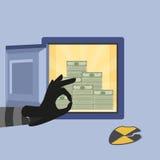 Hacking bank safe. Vector illustration of hacking bank safe with open safe Stock Image