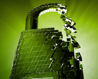 Hacking bypass security. Hacking bypass compromised security with broken lock Stock Images