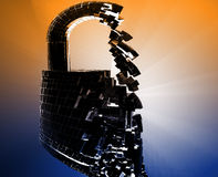 Hacking bypass security. Hacking bypass compromised security with broken lock Stock Image