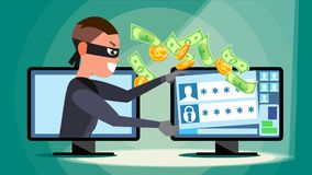Hacking Concept Vector. Hacker Using Personal Computer Stealing Credit Card Information, Personal Data, Money. Network. Hacking Concept Vector. Hacker Using Stock Image