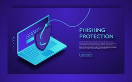 Hacking credit card or personal information website. Cyber banking account attack. Phishing Protection Concept. Phishing via internet isometric vector concept royalty free illustration