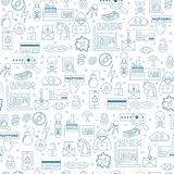 Hacking and cyber crimes icons vector seamless pattern Royalty Free Stock Images