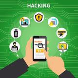 Hacking Design Composition. With human hands holding password protected smartphone and malicious software symbols around cartoon vector illustration Royalty Free Stock Image