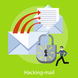 Hacking and e-mail spam. Hacker activity viruses hacking and e-mail spam. Computer crime in flat design. Criminal using computer to commit crime. For web banners Royalty Free Stock Images