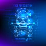 Hacking Face Recognition System Vector Illustration. Hacking Face Recognition System Vector Technological Illustration stock illustration