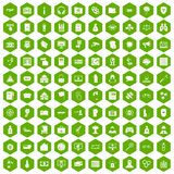 100 hacking icons hexagon green. 100 hacking icons set in green hexagon isolated vector illustration Stock Image