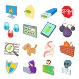 Hacking icons set, cartoon style. Hacking icons set in cartoon style  on white background Stock Images