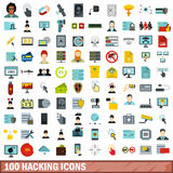 100 hacking icons set, flat style Royalty Free Stock Photography