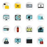 Hacking icons set, flat style Royalty Free Stock Photography
