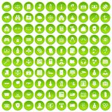 100 hacking icons set green circle Stock Image